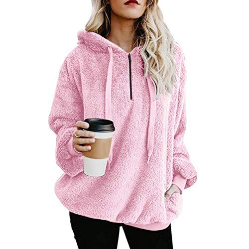 OSYARD Damen Reißverschluss Kapuzenpulli Mantel Winter Warme Wolltaschen Mantel Outwear, Frauen mit Kapuze Fuzzy Sherpa Sweatshirt Fleece Pullover Warmer (5XL, y-Rosa)