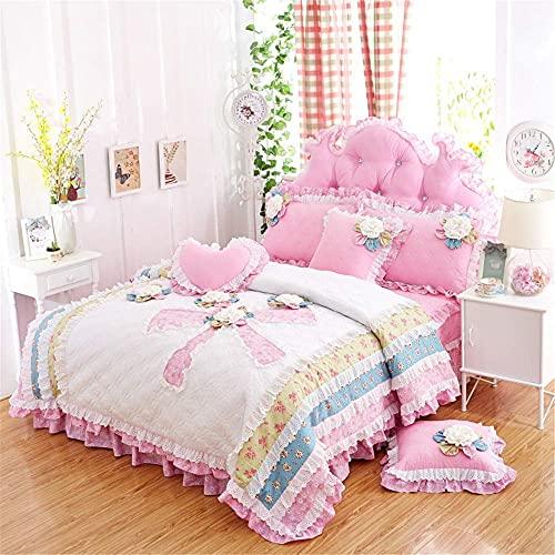 Juego de cama King Size, Falda de cama acolchada floral de algodón de encaje de princesa europea, 4 piezas con flores tridimensionales (Funda nórdica + Falda de cama + Funda de almohada), Rosa, QUEEN