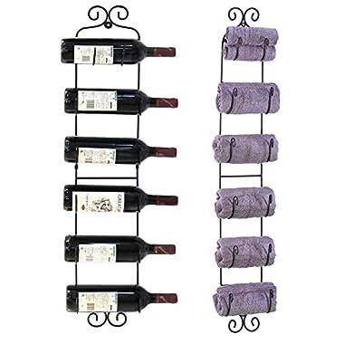 Leoneva Vintage Wall Mount Multi-Purpose Towel/Wine/Hat Rack (Holds 6 Bottles)