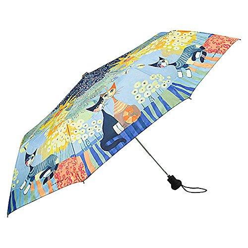 VON LILIENFELD Regenschirm Taschenschirm Rosina Wachtmeister: Dolce Vita Auf-Automatik Leicht Stabil Kompakt Kunst Katzen