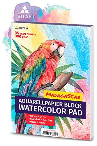 A5 Aquarell-Papier 300g / Weiß / 35 Blatt | Aquarellblock Din A5 von Tritart