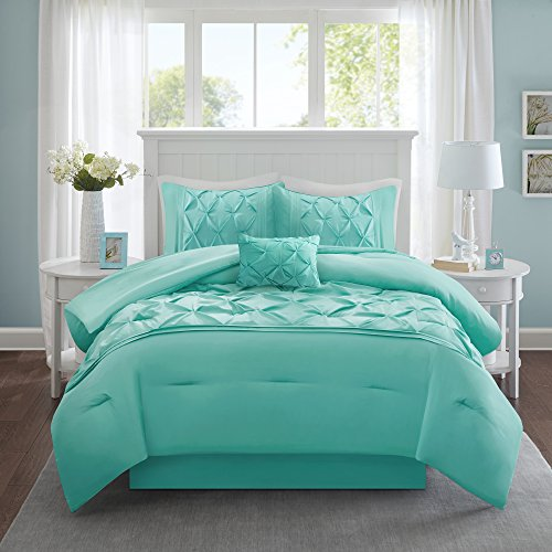 Comfort Spaces Cavoy Faux Silk Comforter Set - Luxe Diamond Tufting All Season, Matching Bed Skirt, Decorative Pillows, Queen(90'x90'), Aqua
