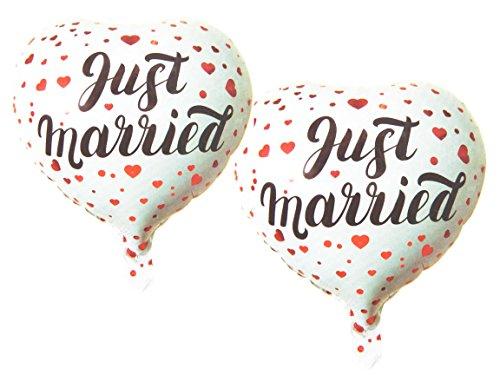 Bada Bing 2er Set Folienballon Luftballon Hochzeit Just Married Liebe Hochzeitsgeschenk Geschenk Hochzeitsfeier Ca. 45 cm 36