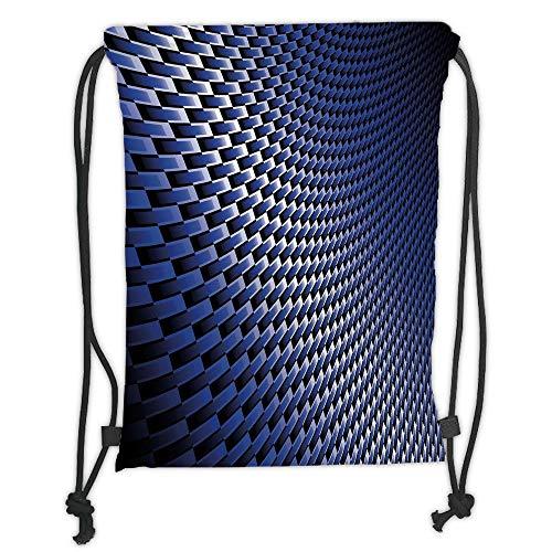 LULUZXOA Gym Bag Printed Drawstring Sack Backpacks Bags,Dark Blue,Curvy Carbon Fiber Texture Image Abstract Industrial Modern Grid,Dark Blue Royal Blue White Soft Satinr