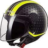 Casco Moto Ls2 Of558 Sphere Lux Crush Nero Hi Vis Giallo, Nero/Giallo, Xl