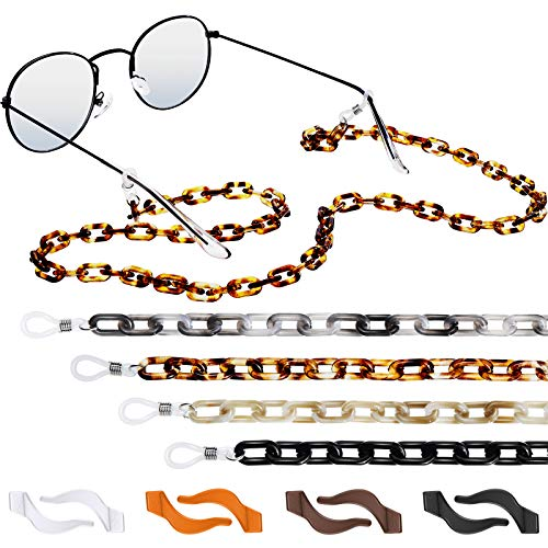Correas Antideslizante de Gafas, 4 Cadenas Acrílico, 4 Pares Ganchos Silicona