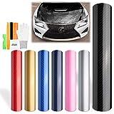 "Free Tool Kit Gold 5D Carbon Fiber High Gloss Car Vinyl Wrap Sticker Decal Film Sheet Bubble Free Air Release Technology - 12""X60"" (1FT X 5FT)"