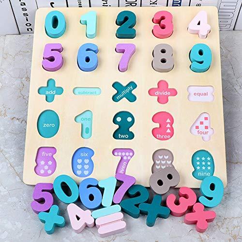HWD 木製数字パズル ボード - 数学数字 ブロックマッチングゲームモンテッソーリジグソーパズル知育学習教育玩具ギフト用 男の子 女の子 幼児ベビーキッズ (数字-02)