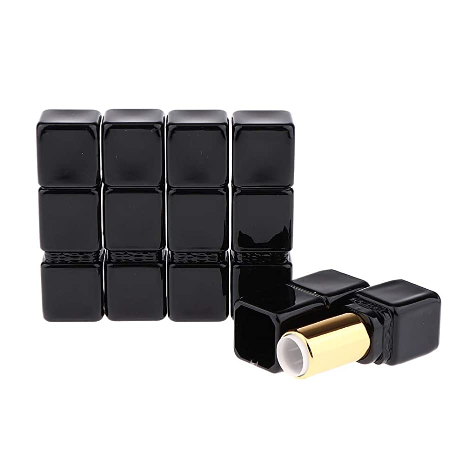 保守可能オープナー圧縮されたCUTICATE 5本 空 リップクリーム管 口紅チューブ 詰替え容器 全2色 - 黒