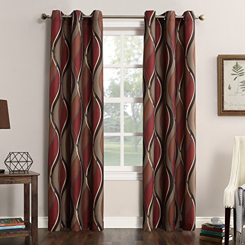 """No. 918 Intersect Wave Print Casual Textured Curtain Panel, Paprika, 48"""" x 95"""""""