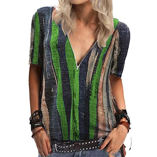 Mayntop - Maglietta da donna per l'estate, autunno e autunno, a righe, stile vintage, a maniche corte, stile boho, stile etnico, A-verde, 40