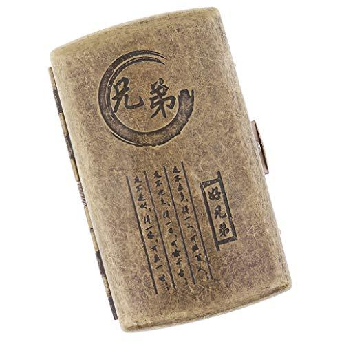 Baoblaze Caja Vintage Almacenamiento De Cigarros Cajita Con Escultura Especial Regalo Ideal Para Hombres - C