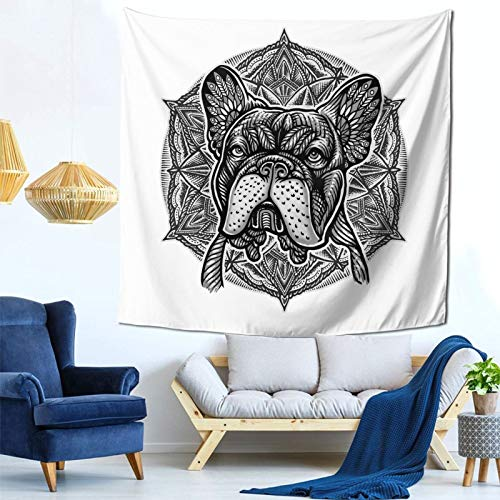 Frenchie Bulldog Mandala Tapestry Art Tapestry Handicraft Party Decoration Banner Garland Event Banner and Home Decoration Green