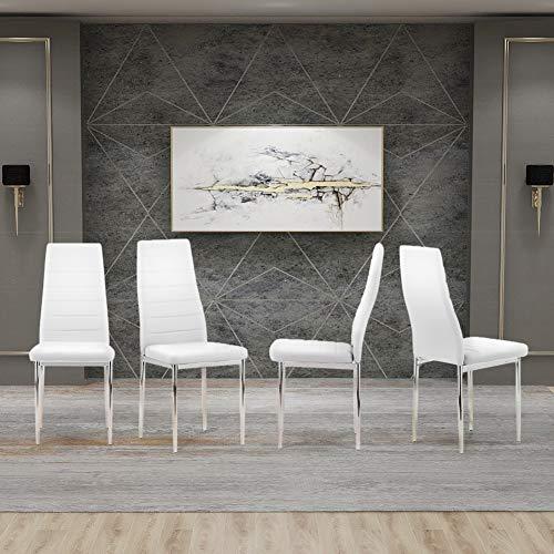 GOLDFAN Sedie da Pranzo Moderne Set di 4 Sedie da Cucina Beige con Gambe in PU e Cromate per Sala da Pranzo (Bianca)