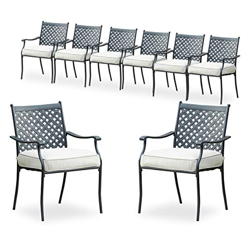 PatioFestival 8 Piece Patio Dining Chairs Metal Outdoor Chairs Wrought Iron Patio Furniture,Dinning Chairs Set with Arms and Seat Cushions