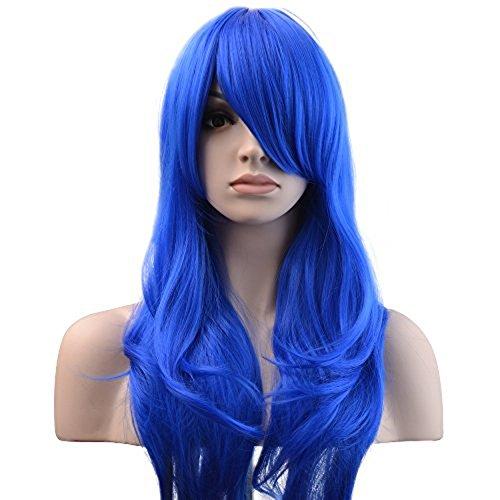 "YOPO 28"" Wig Long Big Wavy Hair Women Cosplay Party Costume Wig(BLue)"