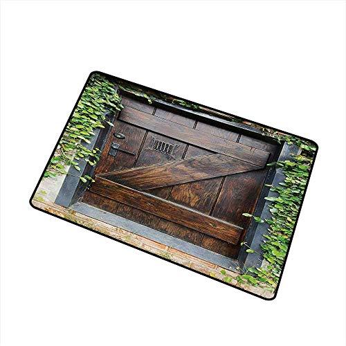 AoLismini Eingangsmatte Small Spanish Style Dark Stained Holztür Secret Garden mit geriebenem Fenster Bild für Eingänge, Garagen, Terrassen Brown Green