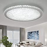 Ladiqi Crystal Round LED Flush Mount Ceiling Light Luxury Modern Close to Ceiling Light...