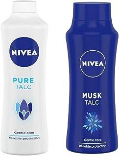 NIVEA Pure Talc, Gentle Care Talcum Powder, 400g And NIVEA Talc, Musk Talcum Powder, 100g