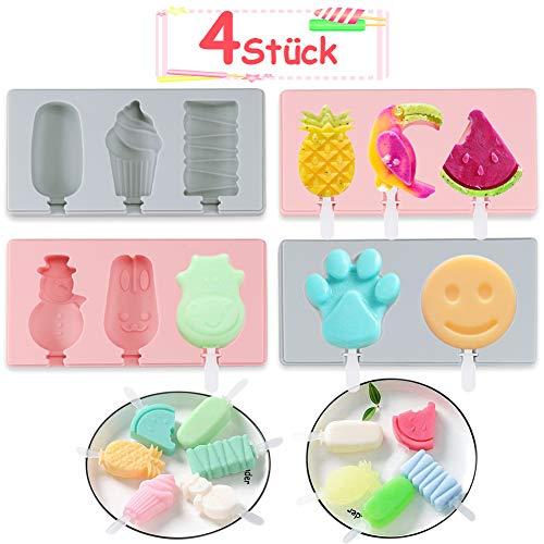 K KUMEED 4 Stück Silikon Eiscreme Eisformen, Eisförmchen Popsicle Formen Set, Handgemachte DIY-Eisform, EIS am Stiel Schimmel Set mit 31 Stück Plastikstangen, Eisform Silikon für Kinder