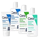 CeraVe Travel Size Toiletries Skin Care Set   Contains CeraVe Moisturizing Cream, Lotion, Foaming Face Wash, and Hydrating Face Wash   Fragrance Free