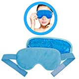 Ice Eye Mask by FOMI Care | Cooling Technology For Relaxing Sleep | Blackout for Airplane Travel | Migraine Headache, Eye Puffiness, Dark Circle Relief | Reusable Ankle Wrap | Fabric Backing (Blue)