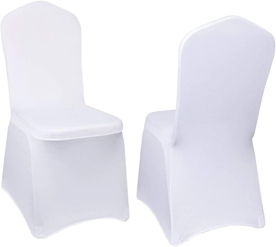 VEVOR 100 Pcs White Chair Covers Polyester Spandex Chair Cover Stretch Slipcovers For Wedding Party Dining Banquet Chair Decoration Covers Flat Chair Cover White 100PC