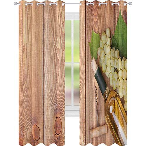 Cortinas opacas impresas, botella de vino y ramo de uvas sobre fondo de mesa de madera, temática romántica italiana, cortinas opacas de 52 x 95 cm de ancho para sala de estar, verde y marrón