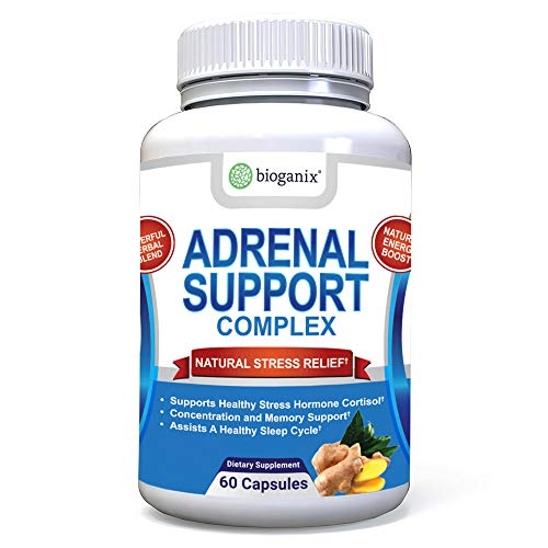 Adrenal Support Supplement - Adaptogenic Herbal Complex with Ashwagandha, Ginseng, Gotu Kola and Licorice Root for Adrenal Health and Stress Relief; Manages Cortisol and Fatigue; 60 Capsules