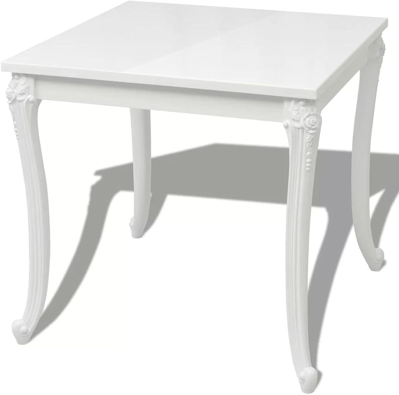 VidaXL Dining Table 80x80x76 cm High Gloss White Kitchen Furniture Square