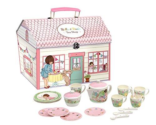 Belle & Boo Kinder Teeservice Set (Melamin) Mit Spielhaus (Für Mädchen, Rosa)