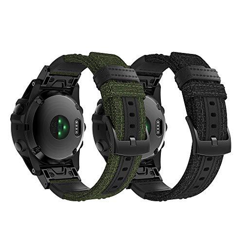 Supore Armband für Garmin Fenix 5X Smartwatch, 26mm Canvas Armband Easy Fit Ersatz Uhrenarmband für Garmin Fenix 5X/Fenix 5X Plus/Fenix 6X/Fenix 6X pro/Fenix 3/Fenix 3HR und mehr