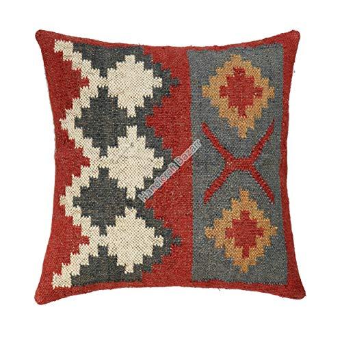 Handicraft Bazarr Funda de cojín para el suelo, de yute, estilo bohemio, indio, tradicional, funda de cojín hippie, funda de cojín rústico turco (multicolor)