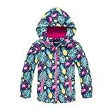 Gogokids Chaqueta de esquí para niños, chaqueta de invierno para niñas, impermeable, impermeable, forro polar, con capucha, 120 cm