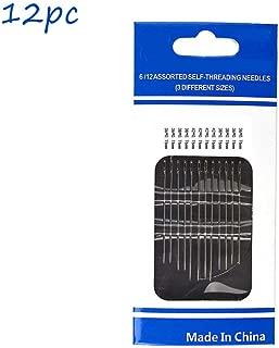 Swyss 12pc Thick Big Eye Sewing Hand Self Threading Sewing Needles Thread Stitching Pins DIY Needlework Arts &Crafts (3X12PC)
