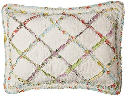 Laura Ashley Home | Ruffle Garden Collection | Quilt-100% Cotton Ultra Soft All Season Bedding, Reversible Stylish Coverlet, Standard Sham, Cream
