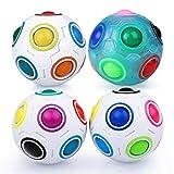Coolzon Magic Rainbow Ball 3D Puzzle Cube, 2 Pack Bola mágica del Arco Iris Regalo de Juguete Educativo para Niños, 3*Blanco + 1*Azul