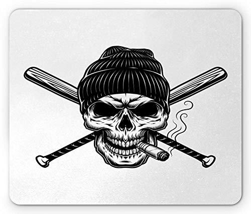 HJJL Skull Smoking Mouse Pad, Skeleton Head Illustration in Beanie Hat and Crossed Baseball Bats, Rectangle Non-Slip Rubber Mousepad, Standard Size, White Charcoal Grey