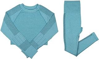 XFKLJ Sports Bras Yoga Pants Triple Striped Gym 2 Two Piece Set Hollow Out Seamless Yoga Suits Workouts Sets Fitness Leggi...