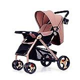 Kinderwagen können sitzen Liegen leicht faltbar vier Jahreszeiten Kinderwagen Zwei-Wege-Kinder Trolley GAOLILI (Farbe : Braun)