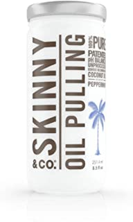 SKINNY and CO. 100% Raw Oil Pulling Peppermint Coconut Oil for Healthier Teeth and Gums - Natural Teeth Whitening (8.5 Oz)