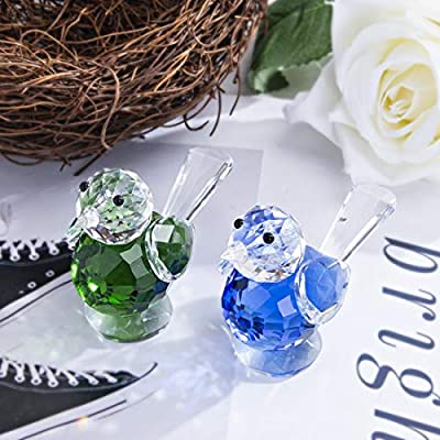 HDCRYSTALGIFT Crystal Birds Figurine Collection Paperweight Table Centerpiece Ornament,Pack of 2