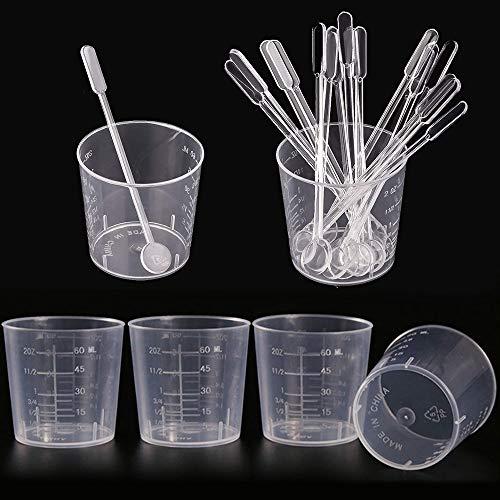 30 paquete de 60 ml taza de mezcla de plástico de medición vasos transparentes tazas graduó con Paquete 30 de agitación bares palos kit de mezcla de plástico para la mezcla de pintura de resina epoxi