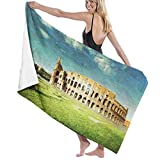 ASDTF Large Soft Toalla de baño Manta,Sunset At Historical Colosseum In Rome Italian Landmark European Art Scenery,Bath Toalla de Playa for Family Hotel Travel Swimming Sports,52' x 32'