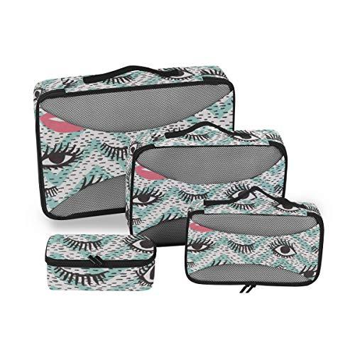 Lips 4pcs Large Travel Toiletry Bag for Women Big Wash Bags Hair Dryer Case Multi-Use Toiletries Kit Cosmetics Makeup Bathroom Organizer Suitcase Luggage