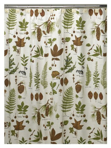 Tree parts pattern: Leaves and pinecones shower curtain