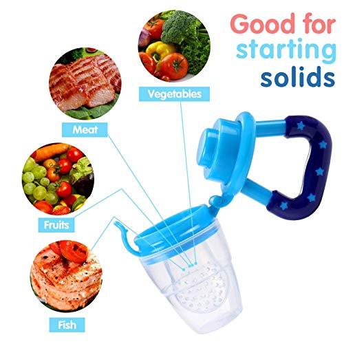Fruchtsauger, Tinabless Schätzchen Schnuller Gemüse sauger für Schätzchen mit 2 und Clip (Blau und grün) - 4