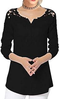 SHOWNO Women's V Neck Cold Shoulder Chiffon Long Sleeve Lace Stitching Chiffon Blouse Shirt Top