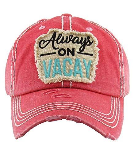 YK001 Always On Vacay Hot Pink Washed Vintage Baseball Cap.