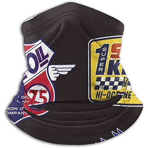 C-WANG Vintage Motoröl Zeichen und Label Set Stirnband Gesichtsmaske Bandana Kopf Wickeln Schal Nackenwärmer Kopfbedeckung Sturmhaube
